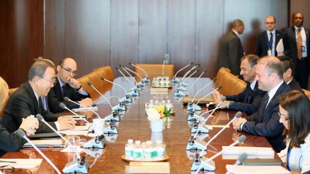 Il Primo Ministro Muscat incontra Ban ki-moon. Paesi del Commonwealth per uno sviluppo sostenibile.