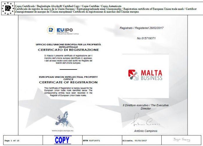 Malta Business - Agency Certificato-Marchio-Malta-Business Copyrigth